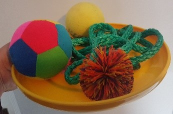 image - frisbee with rope, balls, and other items for a relay race