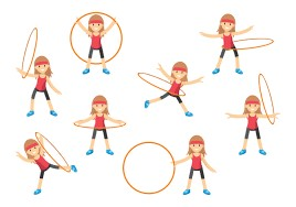 image - hula hoop use - spinning around your waist, on one arm, stepping through, etc.