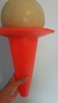 Image - upside down plastic cone with ball on top