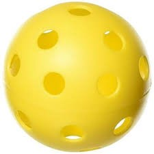 Wiffle Ball - a hollow ball with airholes for throwing and other activities
