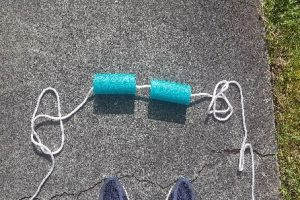 Skipping rope with 15 cm iece of a pool noodle for contrast or noise