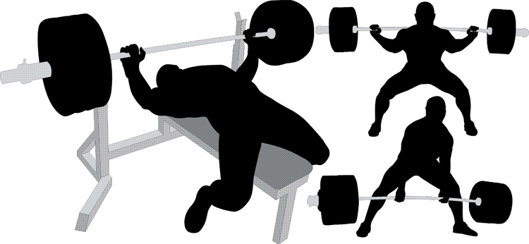 Image of the three lifts in powerlifting
